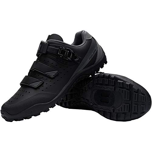 FENLERN Men Cycling Shoes Mountain Bike Shoes Breathable Mutli-Use Riding Shoes with Buckle Compatible with SPD Cleats MTB Pedals (11, Black Grey)