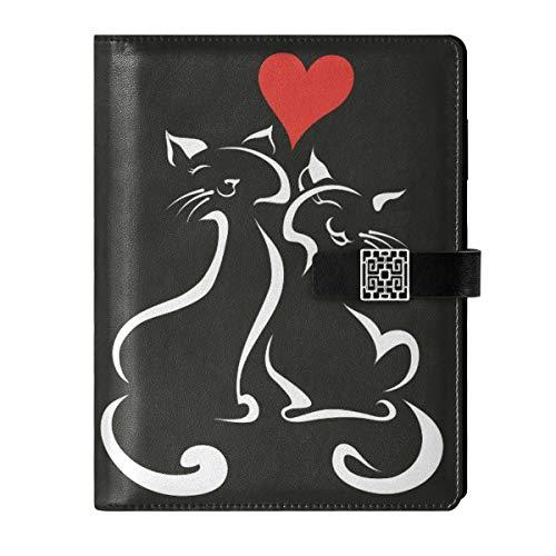 Cuaderno de cuero para escribir diarios, diario de viaje, día de San Valentín, gatos, parejas, rellenables, tamaño A5, con anillas, tapa dura, regalo para hombres y mujeres