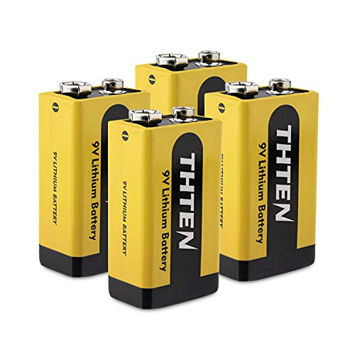 9V Lithium Battery,Thten 1200mAh Non-Rechargeable Li-ion Battery for Smoke Detector Fire Alarm Multimeter,Toys and Games,Remote Controls,calculators,flashlights.(4 Pack)