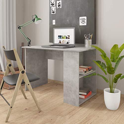 vidaXL Scrivania con Ripiani Laterali Robusta Elegante Moderna Tavolo Lavoro Porta PC Studio Ufficio Grigio Cemento 110x60x73 cm in Truciolato