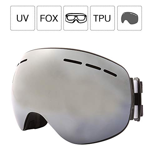 Wing OTG Skibril, voor dames en heren, frameloze snowboardbril, anti-condens en UV400-bescherming, dubbele ruit, verwisselbare glazen, compatibel met helmen