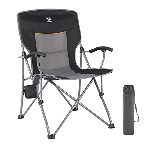 EVER ADVANCED Folding Camping Chair with Cup Holder Quad Padded Arm, Outside Portable Collapsible Steel Frame Oversized Heavy Duty Supports 300 lbs