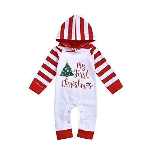 INLLADDY Neugeborene Kind Baby Weihnachten Stripe Jungen Mädchen Kleidung Jumpsuit mit Hut Outfits B 90