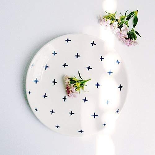 Cuenco de cerámica nórdica, plato creativo para desayuno, bocadillos y pasteles, 20 cm, plato de carne, vajilla minimalista de estilo japonés (color: sección X, tamaño: 8 pulgadas)