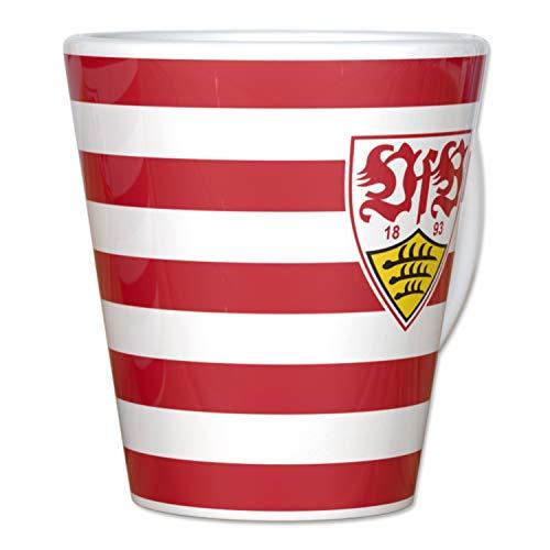 VfB Stuttgart Tasse - Streifen - Kaffeetasse, Pott, Mug - Plus Lesezeichen Wir lieben Fußball