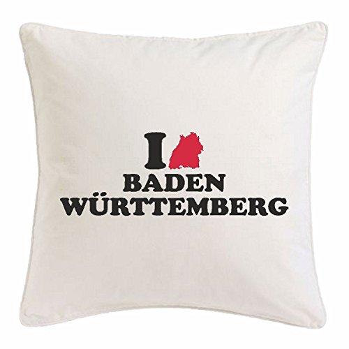Reifen-Markt Kissenbezug 40x40cm I Love Baden WÜRTTEMBERG - Freiburg - EMMENDINGEN - SCHWARZWALD - KAISERSTUHL aus Mikrofaser in Weiß