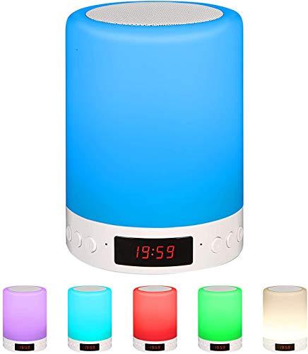 Nachttischlampe mit Bluetooth Lautsprecher, 8 Farbwechsel Dimmbar LED Smart NachtLicht Stimmungslicht Schreibtischlampe mit Touch Sensor/Speakerr/Uhr/TF Karte Slot