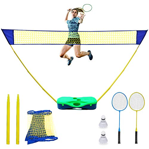 NSEN Badminton Set, Badminton Sets for Backyards, Badminton Net with 2 Rackets & 2 Shuttlecocks, Portable Badminton Set with Storage Box Base, Badminton Volleyball Net for Indoor Outdoor Team Sports