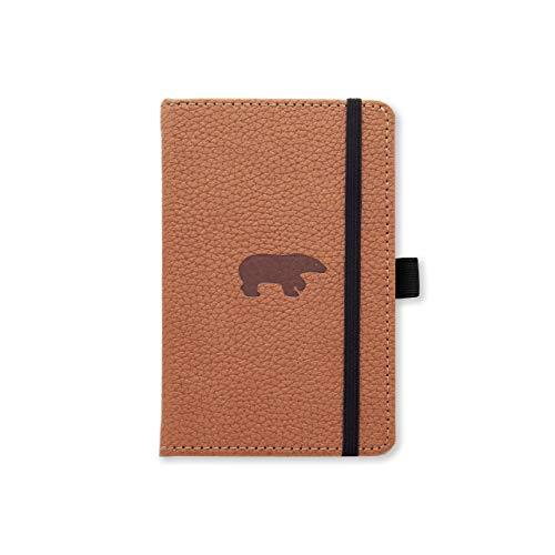Dingbats Wildlife A6 Cuaderno Notebook - PU-Cuero, Papel 100gsm Crema Micro-Perforado, Bolsillo Interior, Cierre Elástico, Titular de la Pluma, Marcador (De Rayas, Oso Marrón)