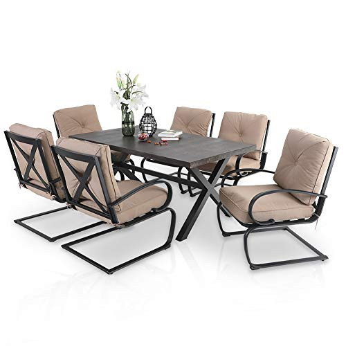 PHI VILLA 7 Pcs Patio Dining Set, Outdoor Furniture Dining Set for 6 with 65.9'x38' Large Rectangular Wood Like Metal Dining Table & 6 Piece Padded Spring Motion Dining Chairs for Patio Garden, Beige