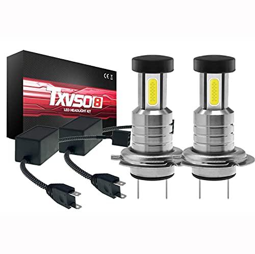 Kit De Faros LED TXVSO 110W 18000LM H7 3 Lados 6000K Lámparas Blancas, 55W/Bombilla, 2 Unids/Set, Reemplazo para Halógenos Y Luces De Xenón, con Canbus/decodificador