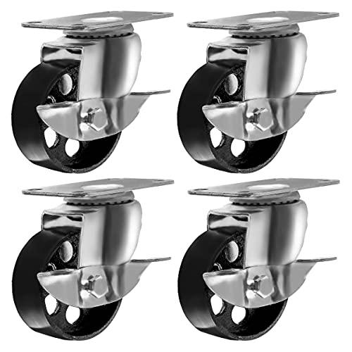 """4 All Steel Swivel Plate Caster Wheels w Brake Lock Heavy Duty High-gauge Steel (3.5"""" With brake)"""
