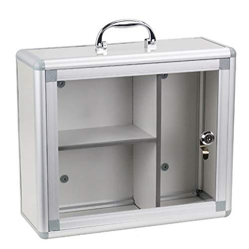 KKYY Multiple Tier Aluminium Wall Mounted Medicine Kabinet Glas Afsluitbare Deur Opslag Planken Huisraad Badkamer Meubilair W/2 Sleutels