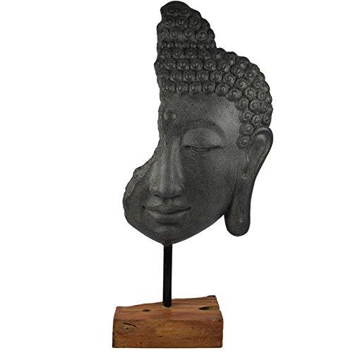 My-goodbuy24 XXL Deko Buddha Kopf auf Holz Sockel 69cm grau | Buddha-Figur für Wohnung - Statue Wohnaccessoire Skulptur Feng Shui Dekoration - Polyresin (Kunststein) - Unikat
