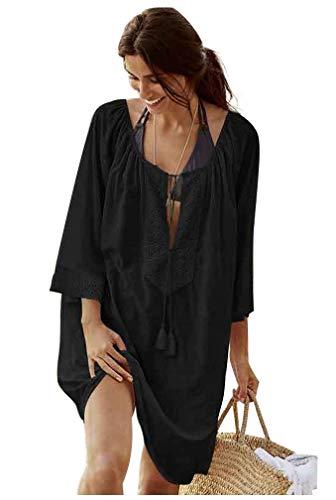 Landove T-Shirt Collo A V Donna Manica 3 4 Tunica Copricostumi e Parei Mare Costumi da Bagno Spiaggia Pareo Copri Bikini Cover Up