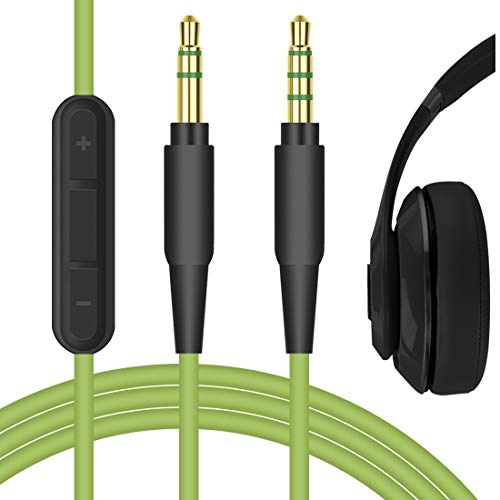 Geekria QuickFit Audio Cable with Mic for Beats Solo2, Solo3, Studio, Studio2, Studio3 Headphones, 3.5mm Replacement Stereo Cord with Microphone and Volume Control (Green 5.6ft)