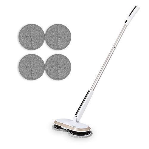 GOBOT - Vadrola eléctrica inalámbrica con mango ajustable y 4 almohadillas de microfibra de repuesto, batería recargable depuradora de suelo de vadrosión sin