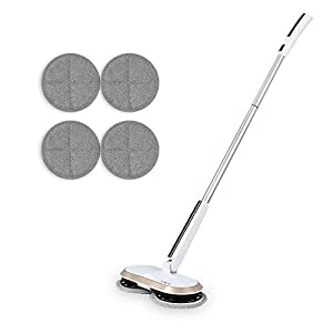 La escoba eléctrica giratoria inalámbrica es apta para la limpieza y el pulido de suelos de baldosas dursGOBOT ligera recargable, doble rotación, equipada con 4 almohadillas de fibra y luces LED.