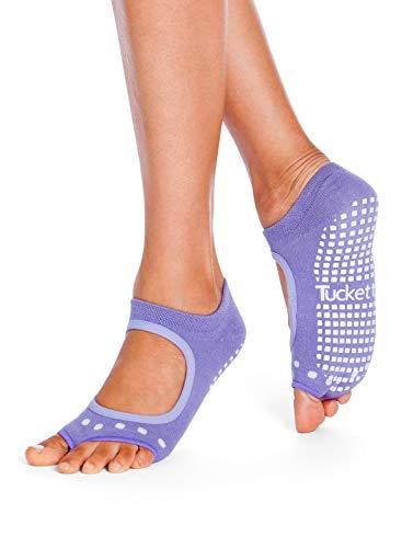 Tucketts Womens Yoga Socks Toeless Non Slip Skid Grippy Low Cut Socks for Yoga Pilates Barre Studio Bikram Ballet Dance  Allegro Style Lavender one size fits most