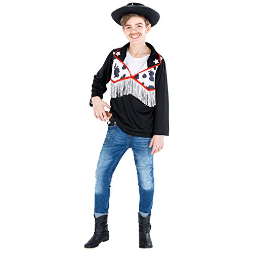 TecTake dressforfun Jungenkostüm Cowboy | Sheriff Hemd in Kuhfelloptik | 2-Stern-Applikationen am Kragen (8-10 Jahre | Nr. 300534)