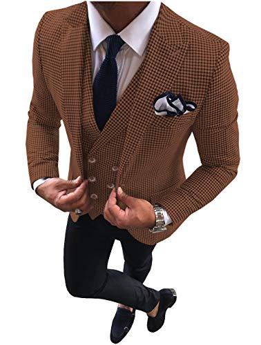 Lovee Tux Trajes para hombre, diseño de pata de gallo, a cuadros, ajustado, para esmoquin de graduación, solapa, 3 piezas para boda -  Naranja -  44