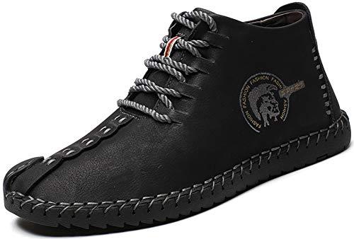 Phefee Zapatos de cuero casual de los hombres Zapatos Planos con Cordones hombre Oxford vestido mocasines zapatos de negocios hechos a mano mocasines de conducción de zapatos?Negro 44?