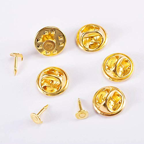 Squeeze Badge Holder Butterfly Clasp Pin Back Brooch Clutch Care Cap Nail Tie Back Stoppers Rhodium Jewelry-Gold,50Pcs Only Caps