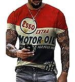 Camiseta Retro para Hombre Camiseta con Estampado de Letras de Aceite de Motor Adicional Camisetas Informales de Verano de Manga Corta con tripulación