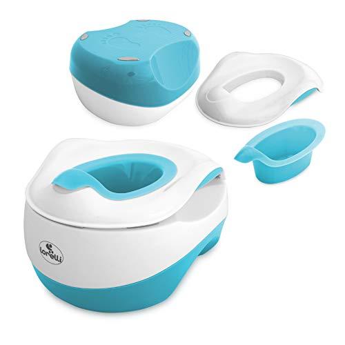 Lorelli Töpfchen Set WC Transform 3 in 1 Töpfchen Toilettentrainer Tritthocker, Farbe:hellblau