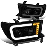 Pair Tinted/Clear Corner LED DRL + Turn Signal Projector Headlight Lamps Compatible with Toyota Tundra Sequoia 07-17