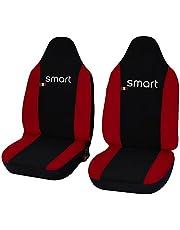 Lupex Shop smart.013_B.r Smart fortwo dwukolorowe pokrowce na siedzenia (modele 2007 – 2013) czarne czerwone