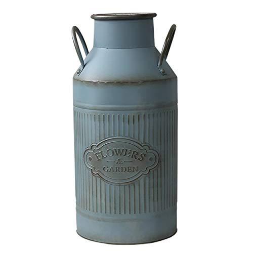 Hogar y Mas Paragüero, Soporte de Paraguas, Metal Azul, diseño Vintage Lechera Factory C/Asas. para el Recibidor. 22x14x47 cm.