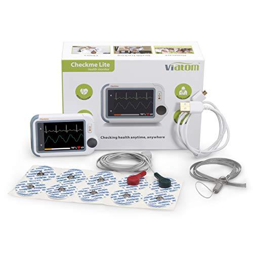 MedX5 Herzfrequenzmesser zur Erkennung von Vorhofflimmern mit Klebeelektroden, EKG Gerät mit SpO2 Messung & Blutdruckmessung, deutsche Menüführung und Anleitung