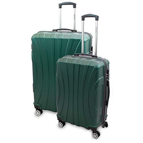 BERWIN® Kofferset L + XL 2-teilig Reisekoffer Trolley Hartschalenkoffer ABS Teleskopgriff Modell Strike (Grün)