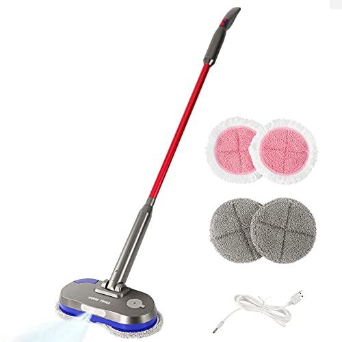 Home Times Fregona eléctrica para limpieza de suelos de madera mojada, potente foco LED inalámbrico, mango ajustable y microfibra intercambiable para suelos de madera, alfombras, azulejos