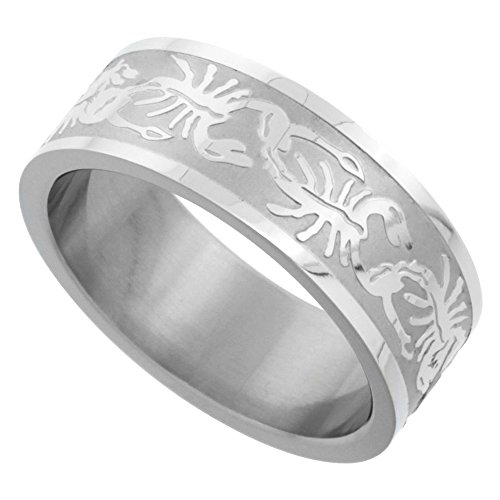 Surgical Stainless Steel 8mm Scorpion Wedding Band Ring Erched Pattern Matte Finish, Size 8