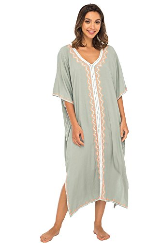 Back From Bali Womens Beach Cover Up Maxi Embroidered Dress, Long Beach Caftan Poncho for Swimsuit Grey