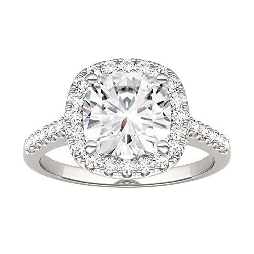 Charles & Colvard Moissanite By Charles & Colvard anillo de compromiso - Oro blanco 14K - Moissanita de 8.0 mm de talla cojín, 2.88 ct. DEW, talla 15,5