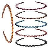 Minkissy Frühling Gewellte Stirnbänder 6Pcs Harz Kunststoff Gewellte Haarbänder Haarreifen Yoga Sport Gewellte Haarbänder (zufällige Farbe)