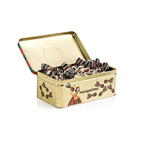 Venchi Cioccolatini Nougatine in Scatola Regalo di Latta, 288 g - Granella di Nocciola Caramellata Ricoperta di Cioccolato Fondente - Senza Glutine