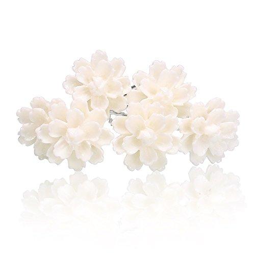 Autiga Weiße Blumen Haarnadeln Lotus Blüte Hochzeit Braut Haarschmuck Blumenhaarnadel Kommunion Haarpins Brautschmuck Duttnadeln weiß 6er Set
