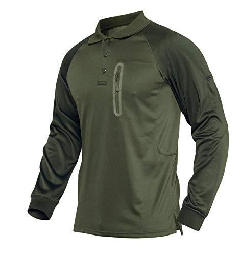 KEFITEVD Herren Tactical Poloshirt mit Knopfleiste Langarm Golf Shirt US Army Outdoor Polo Langarmshirt Safari Pullover Military Sweatshirt Dunkeloliv 2XL