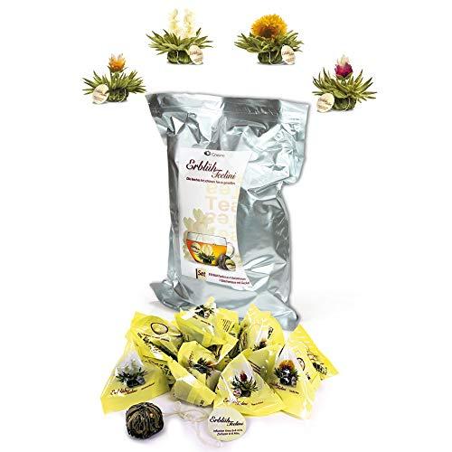 Creano Teeblumen 36 Teekugeln im Tassenformat, Teelini weißer Tee Großpackung, Erblühtee im Bulkpack, Teerosen, Blooming Tea, Flowering Tea