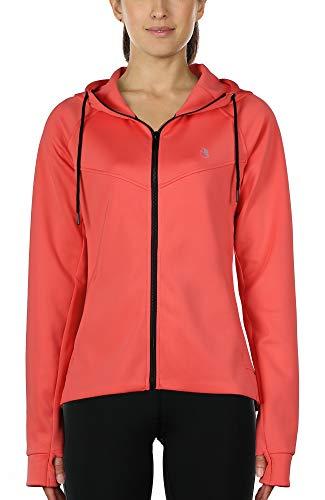 icyzone Damen Sportjacke Laufjacke voll ZipTrainingsjacke mit Kapuze, Fitness Hoodie Langarm Shirt im Winter (L, Korall Rot)