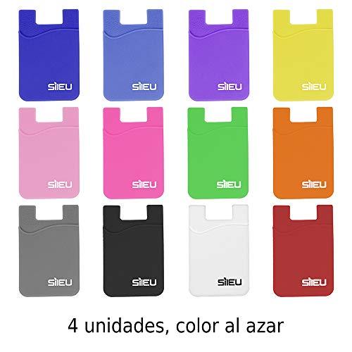 4 x Bolsillos de Silicona Multiusos Portatarjetas con Adhesivo 3M para Movil y Cartera - Compatible con Todos los Modelos de Smartphone e iPhone - Colores al Azar