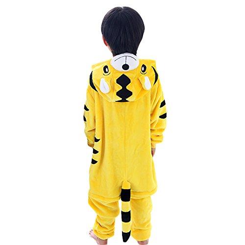 Free Fisher Kinder Jungen/Mädchen Cosplay Kostüm Jumpsuit Overall Schlafanzug Pyjama, Gelb Tiger, Gr. 98/104( Herstellergröße: 100)
