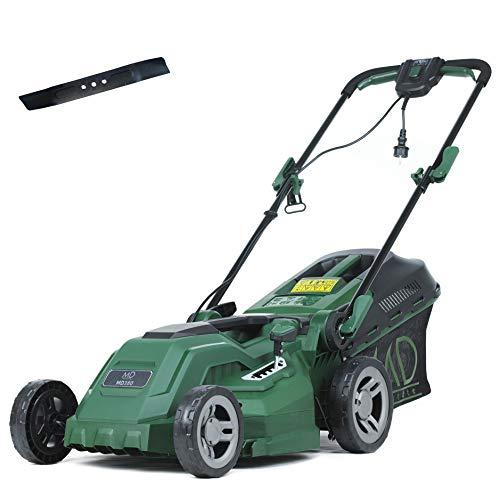 MD Elektro-Rasenmäher, 38 cm Schnittbreite, 1600W, 20-70 mm zentrale Höhenverstellung, inkl. 40 L Grasfangkorb und Ersatzmesser, MD380