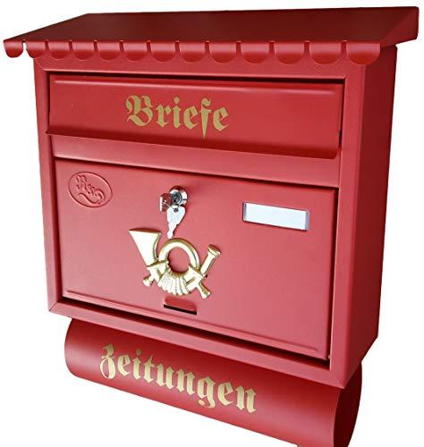 Naturholz-Schreinermeister Großer Briefkasten/Postkasten XXL Rot matt mit Zeitungsrolle Flachdach Katalogeinwurf Zeitungsfach M+ Montagematerial