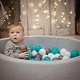 KiddyMoon Bällebad 90X30cm/300 Bälle ∅ 7Cm Bällepool Mit Bunten Bällen Für Babys Kinder Rund, Hellgrau: Grau/Weiß/Türkis - 5