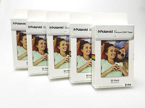 Polaroid Zink 2 x 3 inch premium fotopapier (5 verpakkingen met 30 opnames x 5 in totaal 150 opnames) – compatibel met Polaroid Snap, Z2300, onmiddellijke camera en ritssluiting